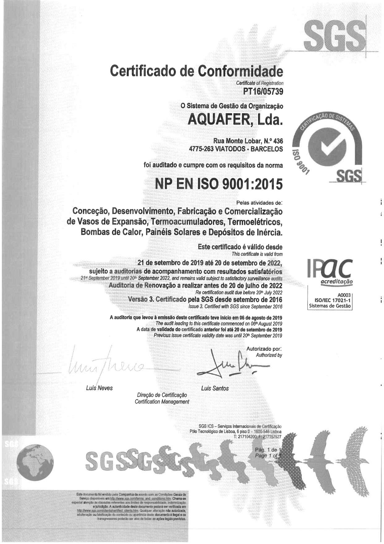 Aquafer implementa Certificação de Qualidade