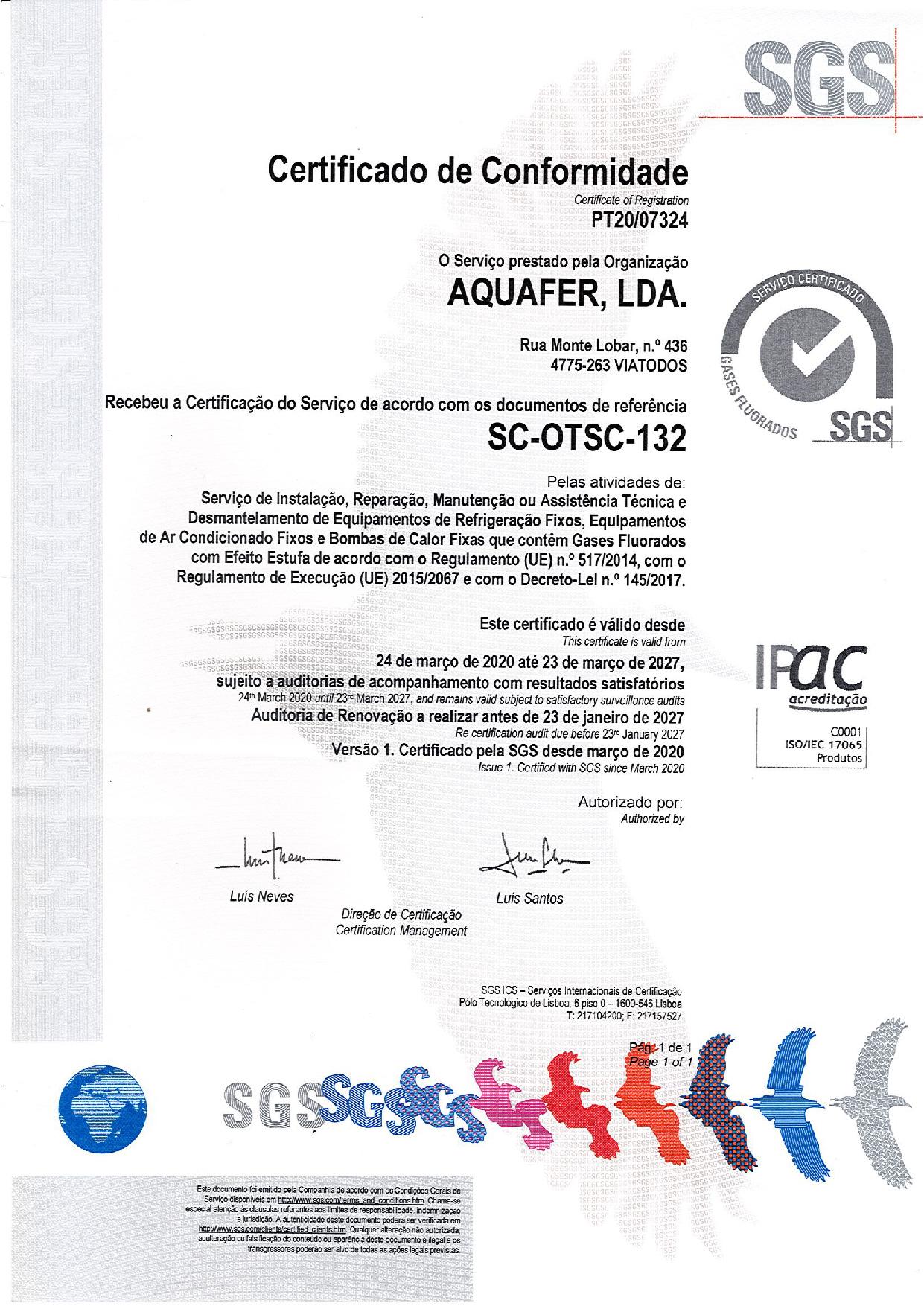 Aquafer obtém Certificação no âmbito dos gases fluorados